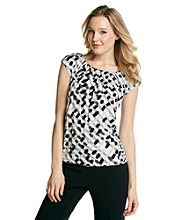 Relativity® Career Printed Ruched Scoopneck Top With Banded Bottom