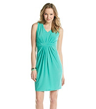 Relativity® Career Solid V-Neck Dress With Pleating