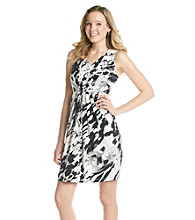 Relativity® Career Printed V-Neck Dress With Pleating