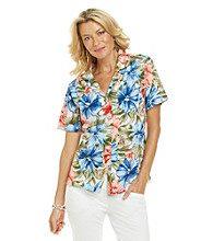 Cathy Daniels® Y-Neckline Short Sleeve Buttonfront Printed Camp Shirt
