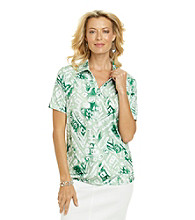 Cathy Danielsr® Polo Collar Short Sleeve Pull Over Printed Shirt