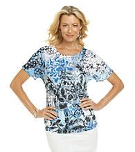 Breckenridge® Blue Ditsy Short Sleeve Sublimation Tee