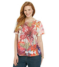 Breckenridge® Plus Size Hibiscus Mosaic Sublimation Tee
