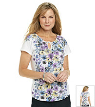 Studio Works® Short Sleeve Floral Tie Front Peasant Top