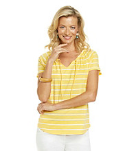Studio Works® Short Sleeve Striped Tie Front Top