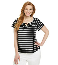 Studio Works® Plus Size Short Sleeve Striped Peasant Knit Top