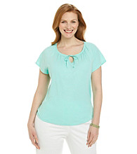 Studio Works® Plus Size Short Sleeve Peasant Knit Top