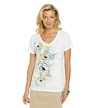 Studio Works® Short Sleeve V-Neck Novelty Printed Knit Top
