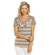 Studio Works® Short Sleeve Scoopneck Novelty Printed Knit Top
