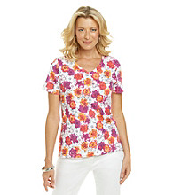 Studio Works® Short Sleeve Floral V-Neck Tee