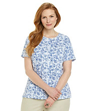 Studio Works® Plus Size Short Sleeve Mosaic Printed Crewneck Tee