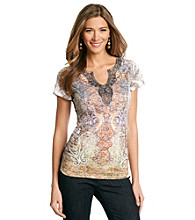 Oneworld® Splitneck Embellished Top