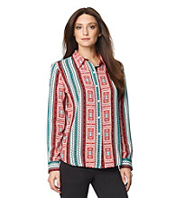 Jones New York Sport® Santa Fe Printed Buttondown Roll Sleeve Shirt