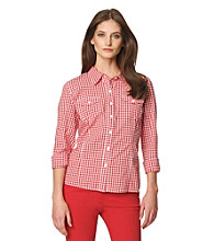 Jones New York Sport® Checkered Roll Sleeve Buttondown Blouse