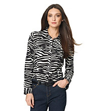 Jones New York Sport® Zebra Roll Sleeve Blouse