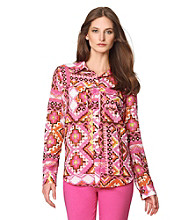 Jones New York Sport® Printed Roll Sleeve Buttondown Shirt