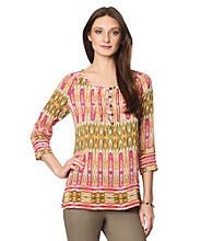Jones New York Sport® Printed Front Placket Top