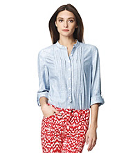 Jones New York Sport® Roll Sleeve Chambray Blouse