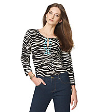 Jones New York Sport® Keyhole Embellished Zebra Print Tunic
