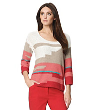 Jones New York Sport® Scoopneck Intarsia Sweater