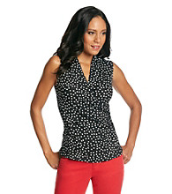 Fever™ Black And White Dot Sleeveless Surplice V-Neck Top