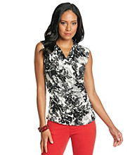 Fever™ Black And White Floral Lace Print Sleeveless Surplice V-Neck Top