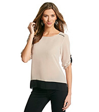 Spense® Latte Colorblock Roll-Tab Sleeve Top