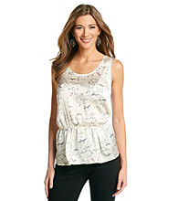 Black Rainn™ Bird Print Sleeveless Peplum Top