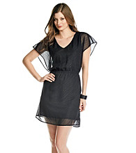 Black Rainn™ Cinched Waist Dot Dress