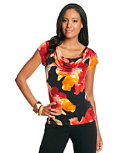 Chelsea & Theodore® Watercolor Cap Sleeve Drapeneck Top