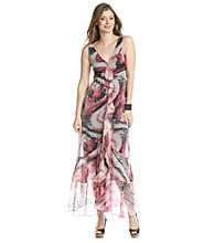 Chelsea & Theodore® Black And Pink Printed Maxi Dress