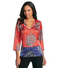 Jones New York Signature® Coral And Dark Blue Paisley Tunic