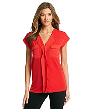 Jones New York Signature® Coral Shoulder Tab Short Sleeve Top