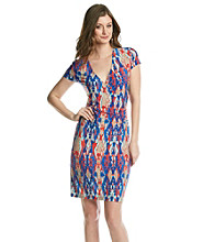 Jones New York Signature® Coral And Blue Print Faux Wrap Dress