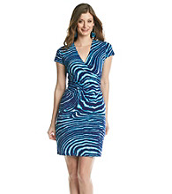 Jones New York Signature® Blue And White Print Faux Wrap Dress