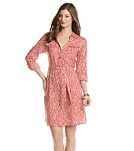 Jones New York Signature® Coral And Ecru Shirt Dress