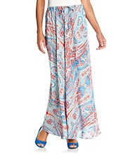 Jones New York Signature Turquoise And Coral Maxi Skirt