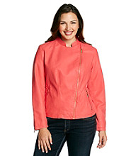 Calvin Klein Plus Size Zipper Front Long Sleeve Moto Jacket