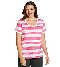 Calvin Klein Performance Plus Size Waterstain Stripe V-Neck Tee