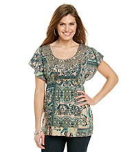 Oneworld® Petites' Flutter Scoopneck Top