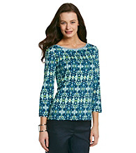 Jones New York Signature® Petites' Chambray Trim Boatneck Top