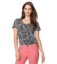 Jones New York Sport® Petites' Zebra Scoopneck Tee