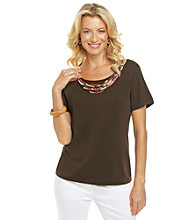 Alfred Dunner® Petites' Monaco Braided Yoke Top