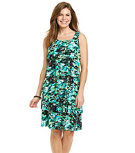 Notations® Petites' Horizon Print Tiered Dress