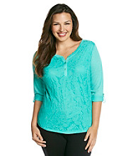 AGB® Plus Size Lace Front Top