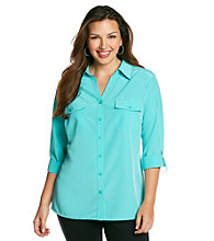 Notations® Plus Size Solid Blouse