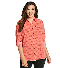 Notations® Plus Size Dot Blouse