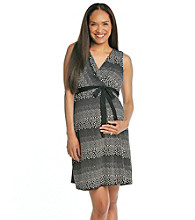 Three Seasons Maternity Sleeveless Drape Front Dot Dress