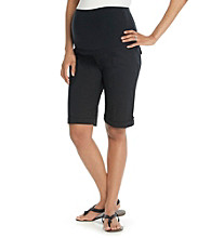 Three Seasons Maternity™ Stretch Poplin Cuffed Bermuda