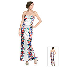 As U Wish® Juniors' Strapless Mirror Print Floral Gown